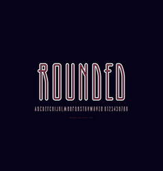 condensed sans serif font with rounded corners vector image