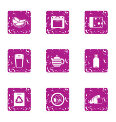 Continental breakfast icons set grunge style vector