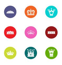 coronet icons set flat style vector image