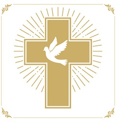 Cross with the dove vector image