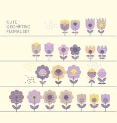 cute decorative flower design elements vector image