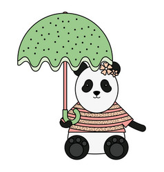 Cute female bear panda with umbrella vector