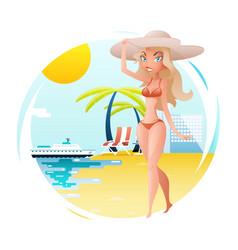 cute happy girl on sunny beach planning summer vector image