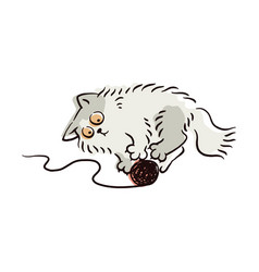 Cute light grey cat playing with yarn ball vector