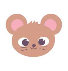 Cute mouse animal face cartoon isolated design vector