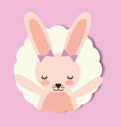 cute portrait pink rabbit bow decoration vector image