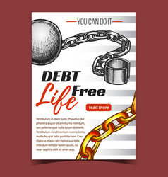 Debt free life chain on advertising banner vector