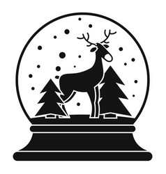 Deer glass snow ball icon simple style vector