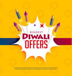 Diwali sale yellow background with crackers vector