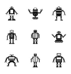 electronic robot icons set simple style vector image