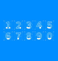 engineering sketches of numbers blueprint style vector image