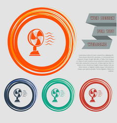 fan icon on red blue green orange buttons vector image