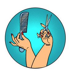 female hairdresser professional stylist vector image