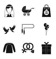 Female happiness icons set simple style vector
