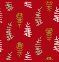 fern green leaves seamless red pattern vector image