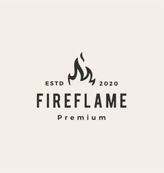 fire flame hipster vintage logo icon vector image