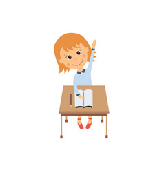 Flat girl sitting at desk raising hand vector