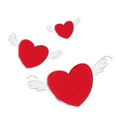 Flat heart with wings paper cut vector