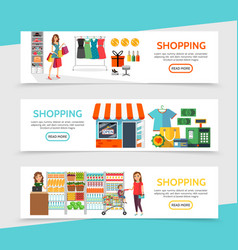 flat shopping horizontal banners vector image