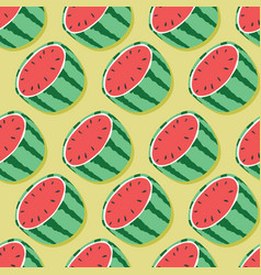 fruit seamless pattern watermelon halves vector image