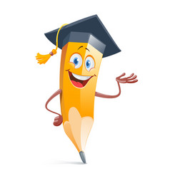 funny pensil in graduation cap education concept vector image