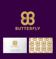 Gold butterfly double b monogram seamless pattern vector