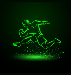 green neon strong runner vector image