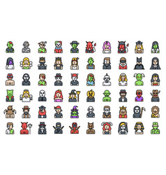 Halloween costume party icon set filled style vector