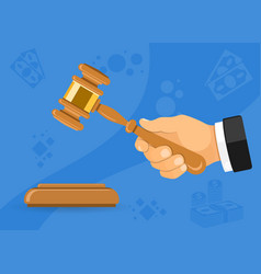 hammer judge or auction in hand vector image