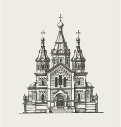hand drawn church building sketch vector image