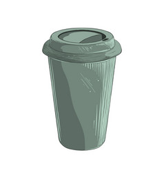 hand drawn sketch of disposable cup in green color vector image
