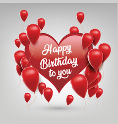 Happy birthday greeting with heart shape vector