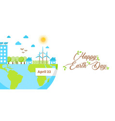 Happy earth day banner of green eco friendly city vector
