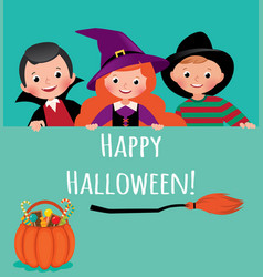 happy halloween poster cartoon vector image