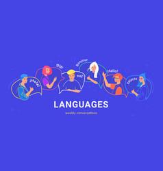 Happy multilingual teenagers on speech bubbles vector