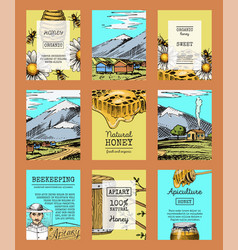 honey farm cards waxing bee and beehive flyer vector image