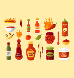 hot sauce cartoon spicy chilli and pepper vector image