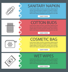 Hygienic accessories web banner templates set vector