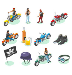 isometric bikers icon set vector image