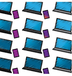 laptop computer with smartphone pattern image vector image