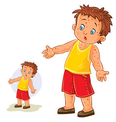 Little boy with a rash on his hands and vector