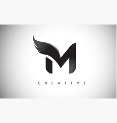 M letter wings logo design with black bird fly vector