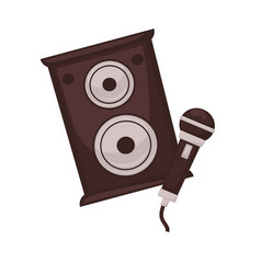 musical loudspeakers and microphone isolated on vector image