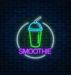 neon glowing sign of smoothie in circle frame on vector image