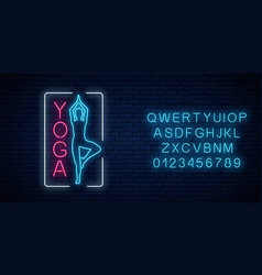 neon glowing sign yoga exercices in rectangle vector image
