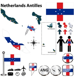 Netherlands Antilles map vector image