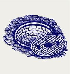 Opened street manhole vector image