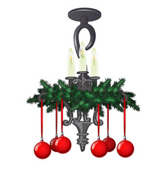 ornate hanging chandelier with christmas vector image