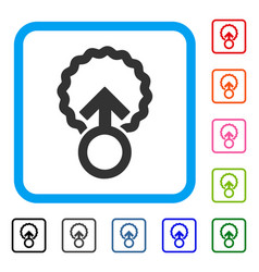 Ovum penetration framed icon vector