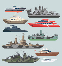 Passenger ships and battleships submarine vector